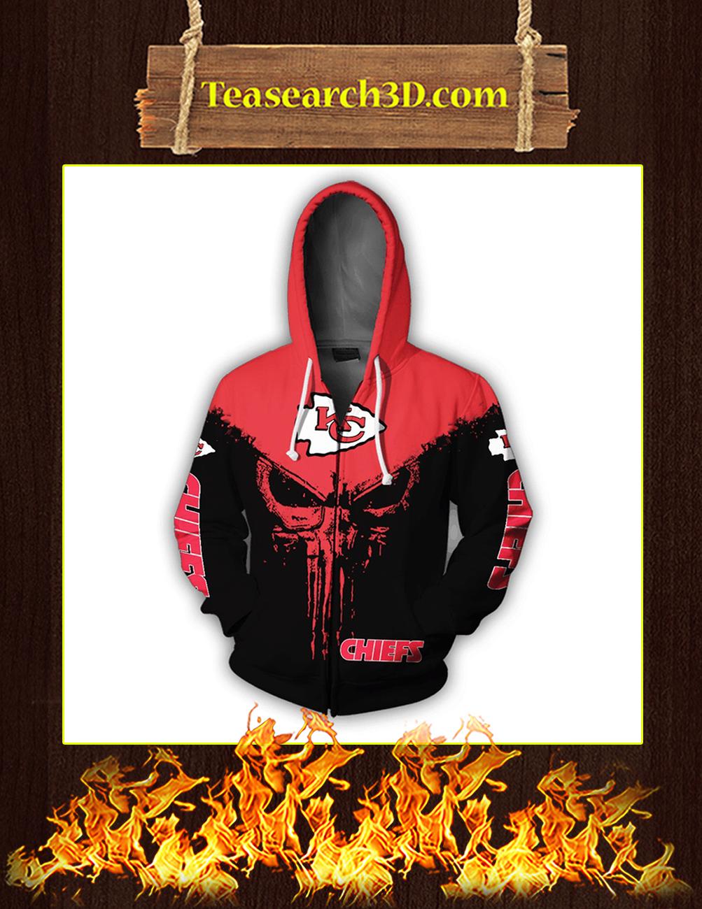 Punisher Skull Kansas City Chiefs 3D Full Printing Zip Hoodie