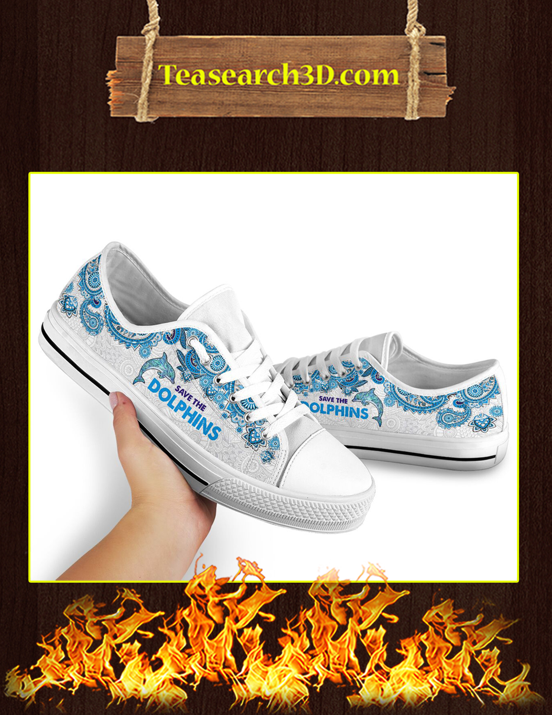 Save The Dolphins Low Top Pic 1