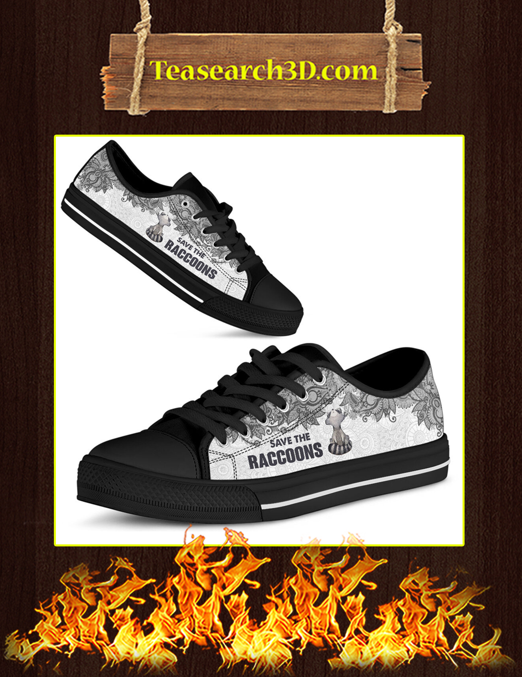 Save The Raccoons Low Top black