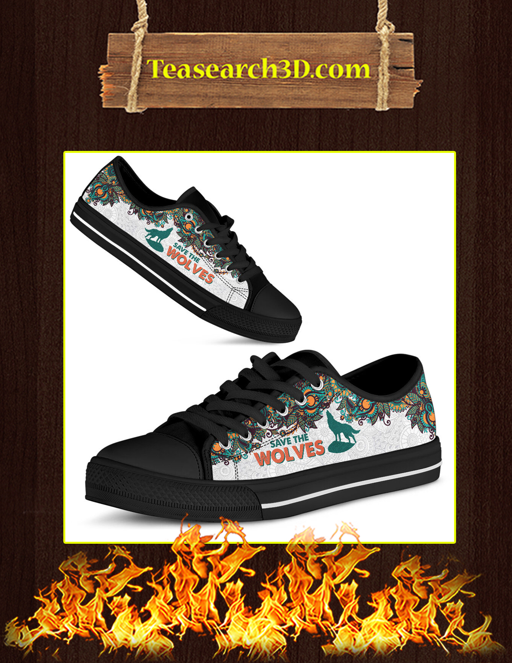 Save The Wolves Low Top black