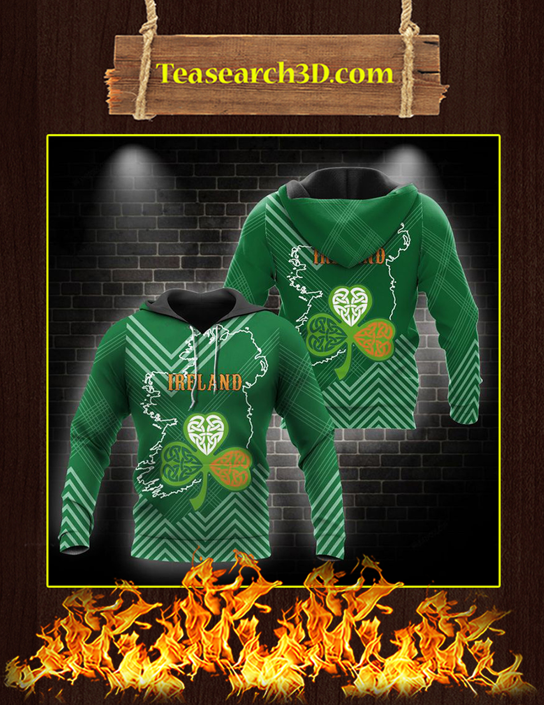 St Patrick's Day Ireland 3D All Over Printed Hoodie