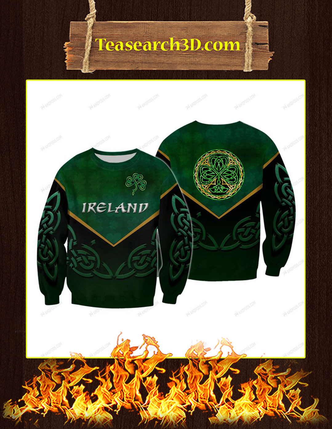St Patrick's Day Ireland 3D All Over Printed Sweatshirt