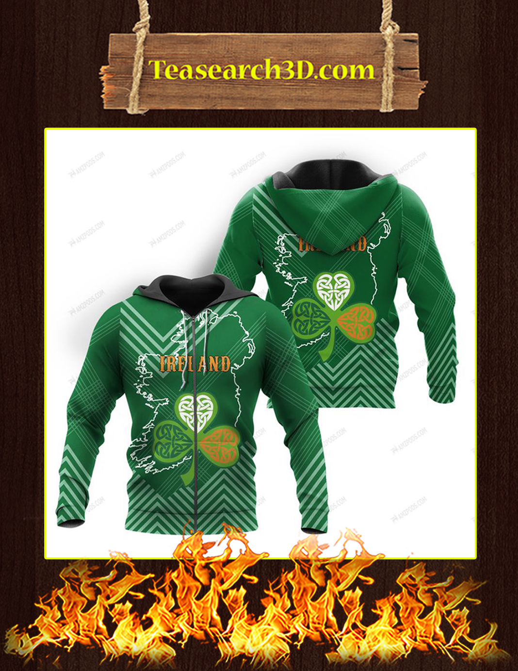 St Patrick's Day Ireland 3D All Over Printed Zip Hoodie