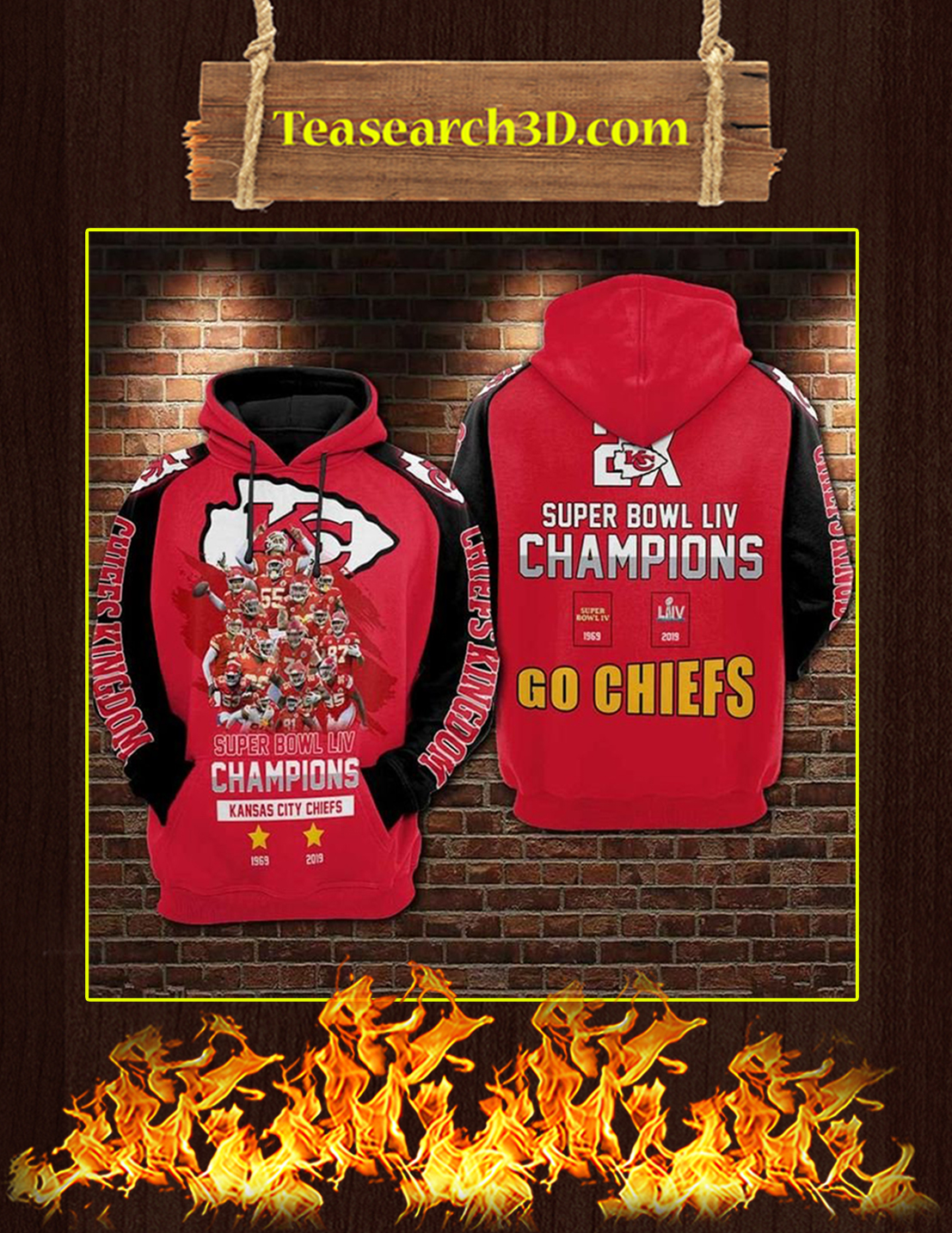 Super Bowl LIV Champions Go Chiefs 3D Full Printing Hoodie Pic 2