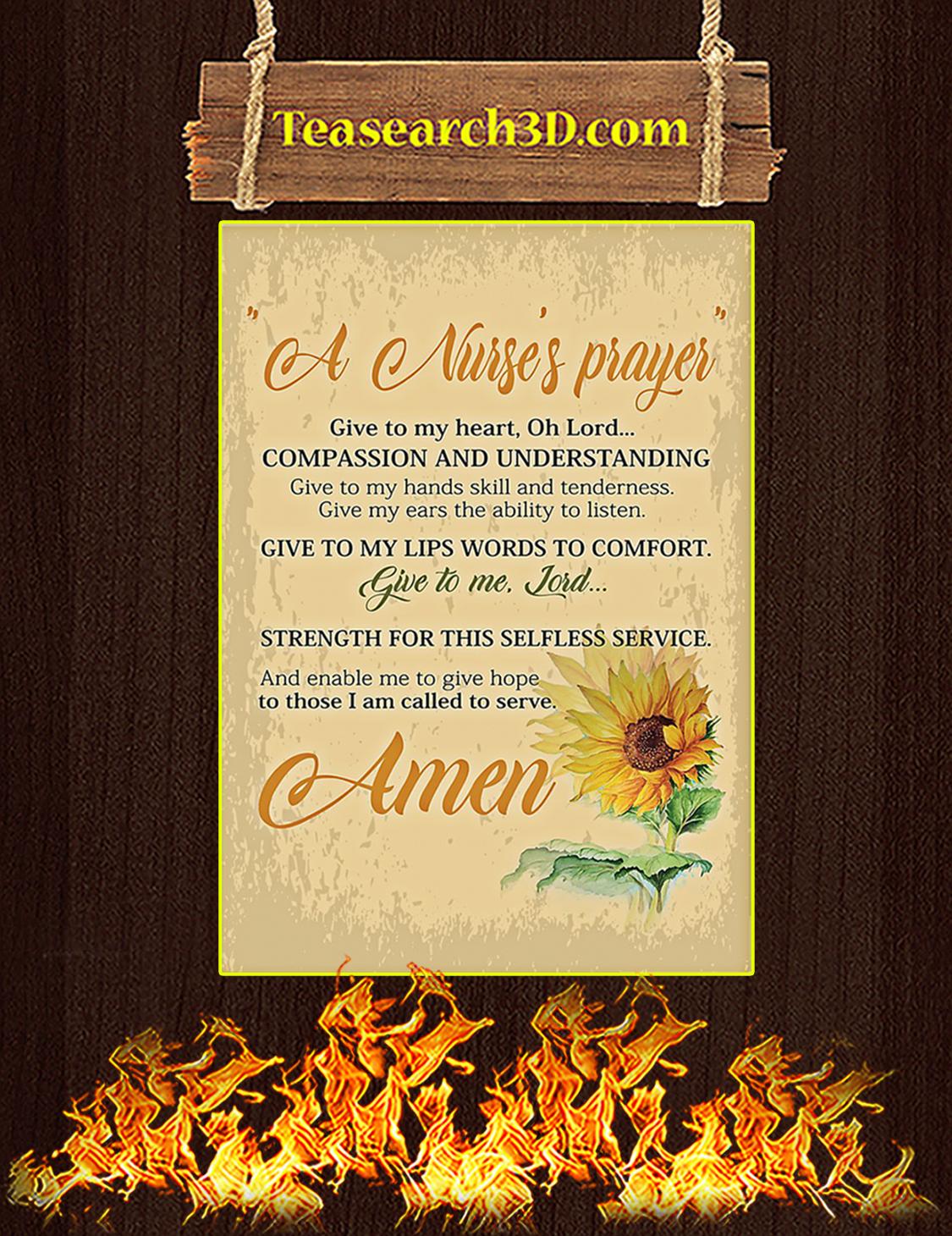 A Nurse's Prayer Sunflower Poster A3