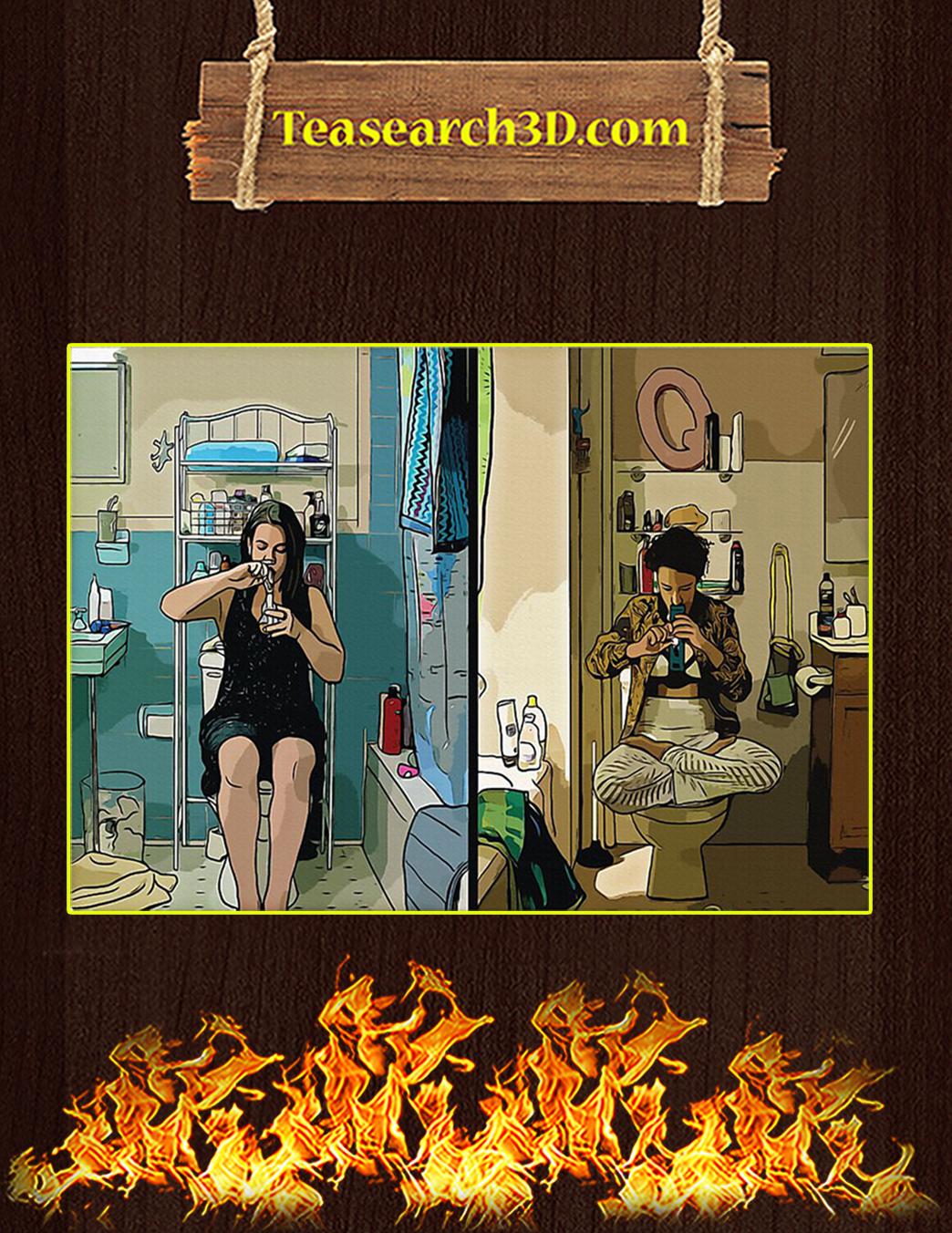 Abbi and Ilana In Bathroom Broad City Poster A1