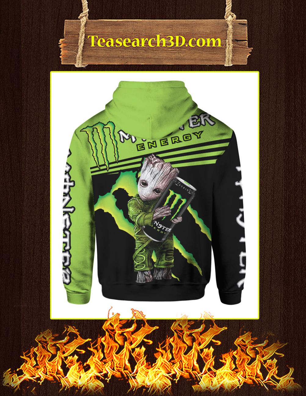 Baby Groot Hug Monster Energy 3d hoodie back