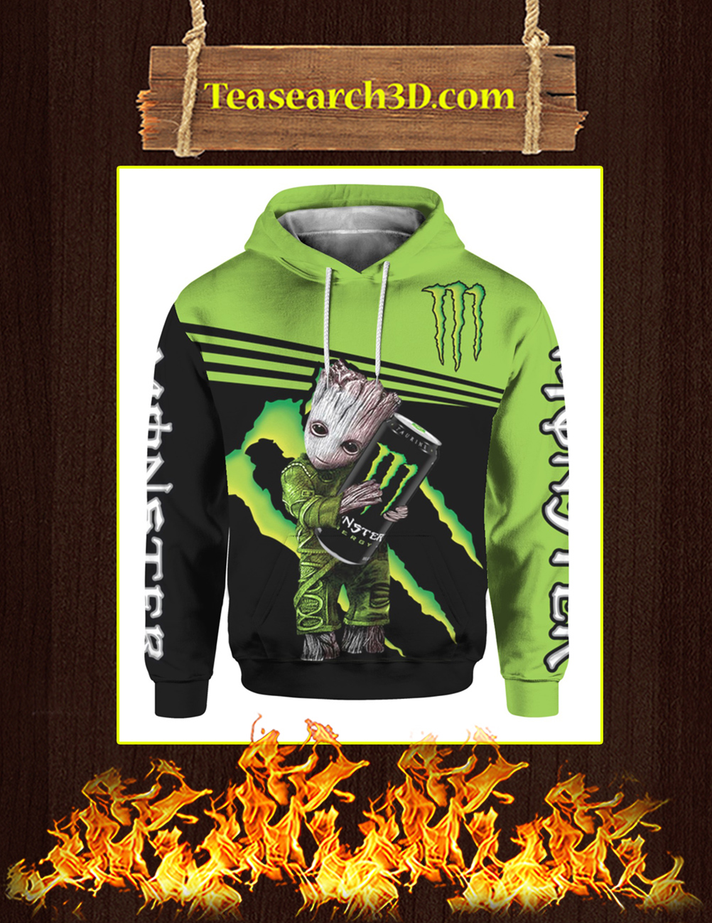 Baby Groot Hug Monster Energy 3d hoodie front