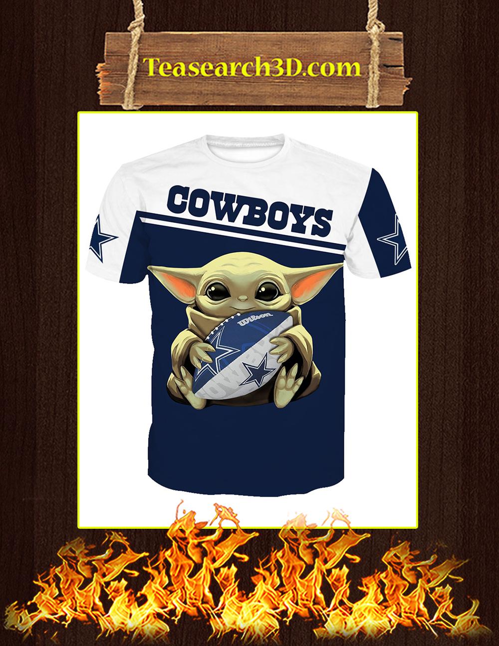 Baby Yoda Hug Dallas Cowboys All Over Print 3D T-shirt