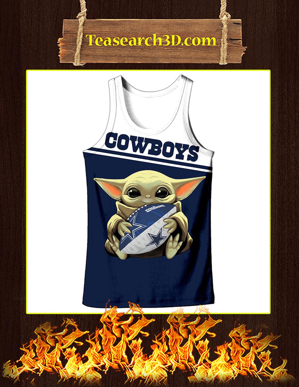 Baby Yoda Hug Dallas Cowboys All Over Print 3D Tank top