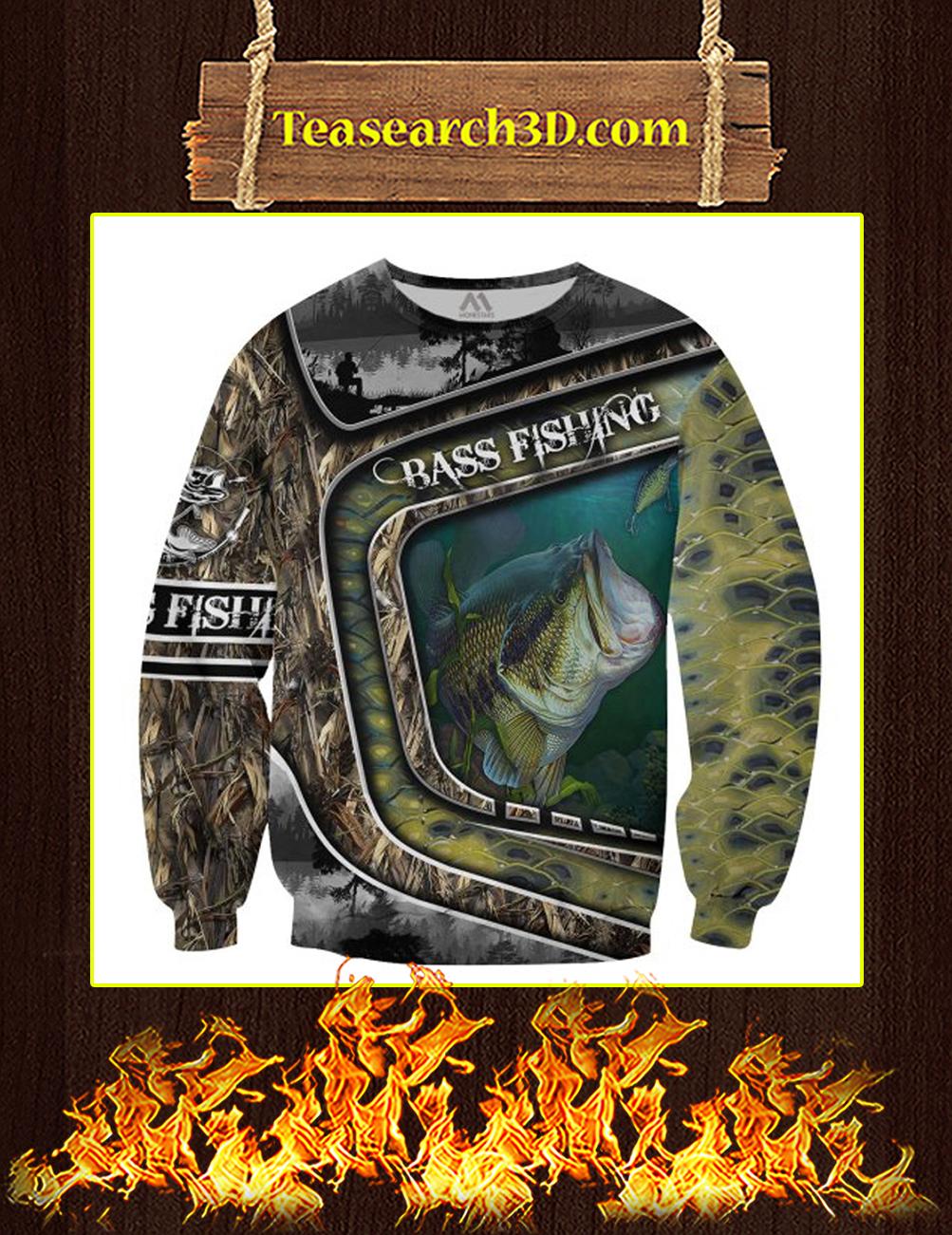 Bass Fishing Camo 3D All Over Printed Sweatshirt