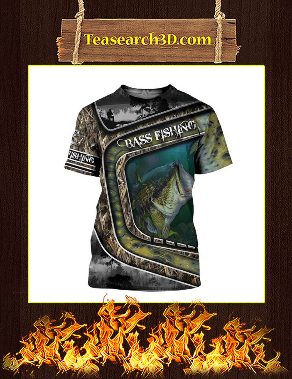 Bass Fishing Camo 3D All Over Printed T-shirt