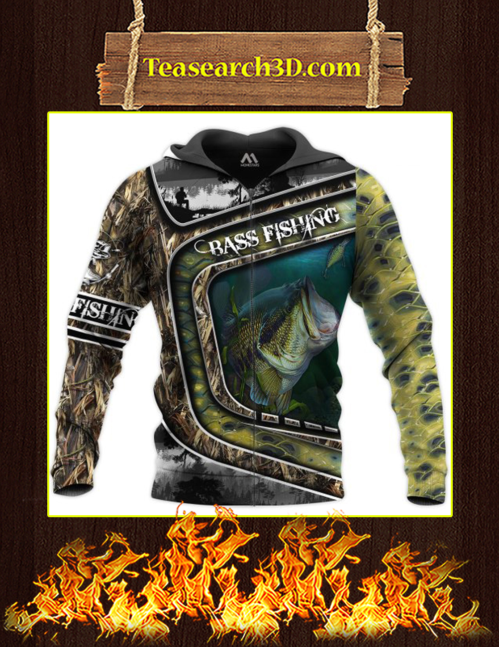 Bass Fishing Camo 3D All Over Printed zip hoodie