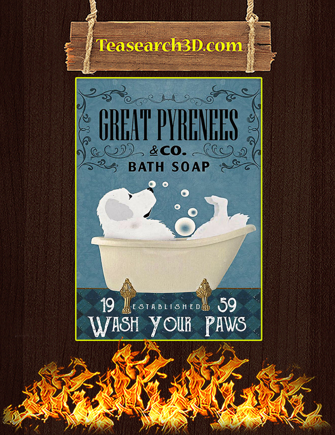Bath Soap Company Great Pyrenees Poster A2