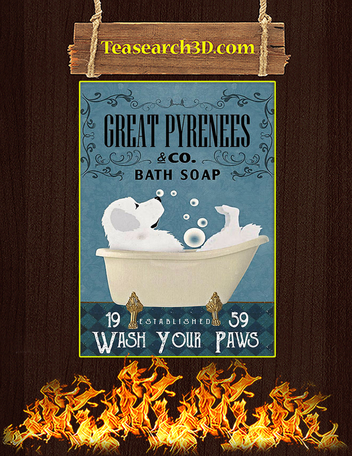 Bath Soap Company Great Pyrenees Poster A3