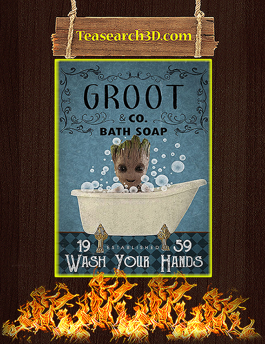 Bath Soap Company Groot Wash Your Hands Poster A1