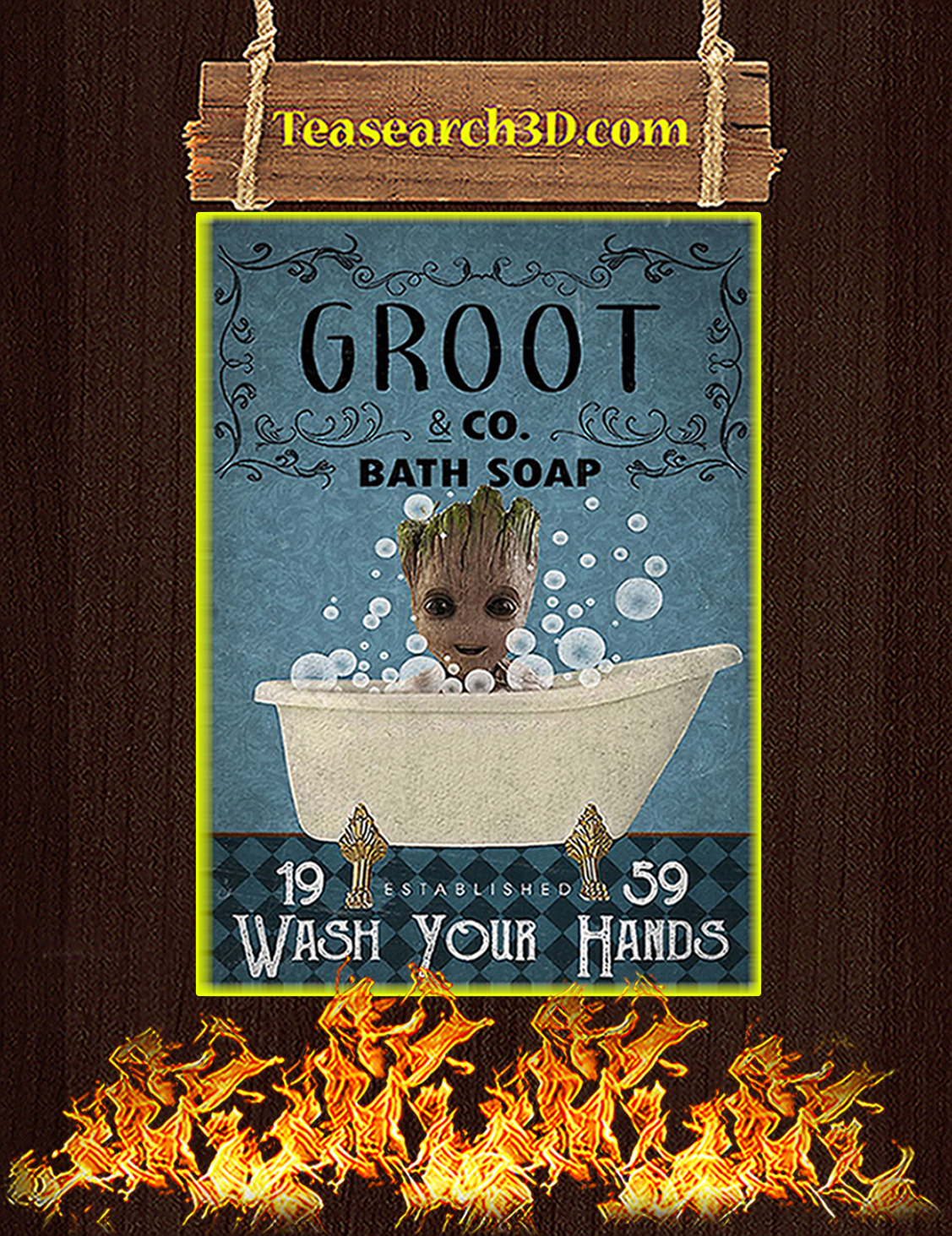 Bath Soap Company Groot Wash Your Hands Poster A3