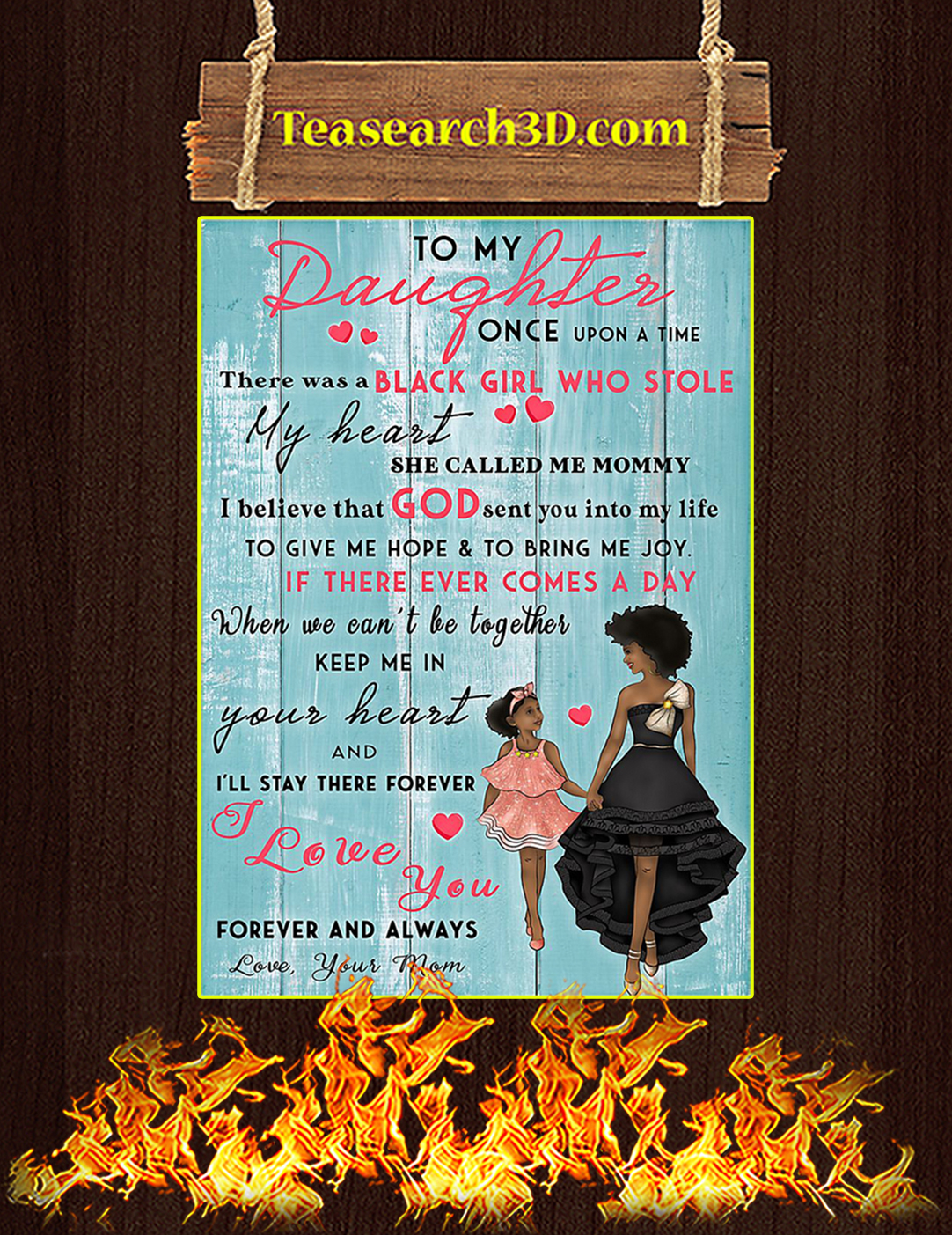 Black Mom To My Daughter Poster A3