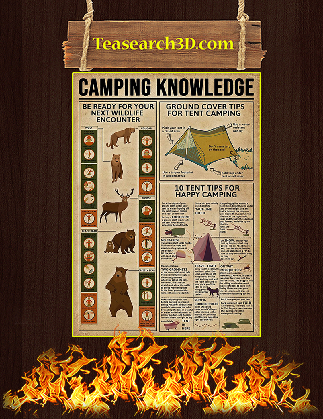 Camping Knowledge Poster A3