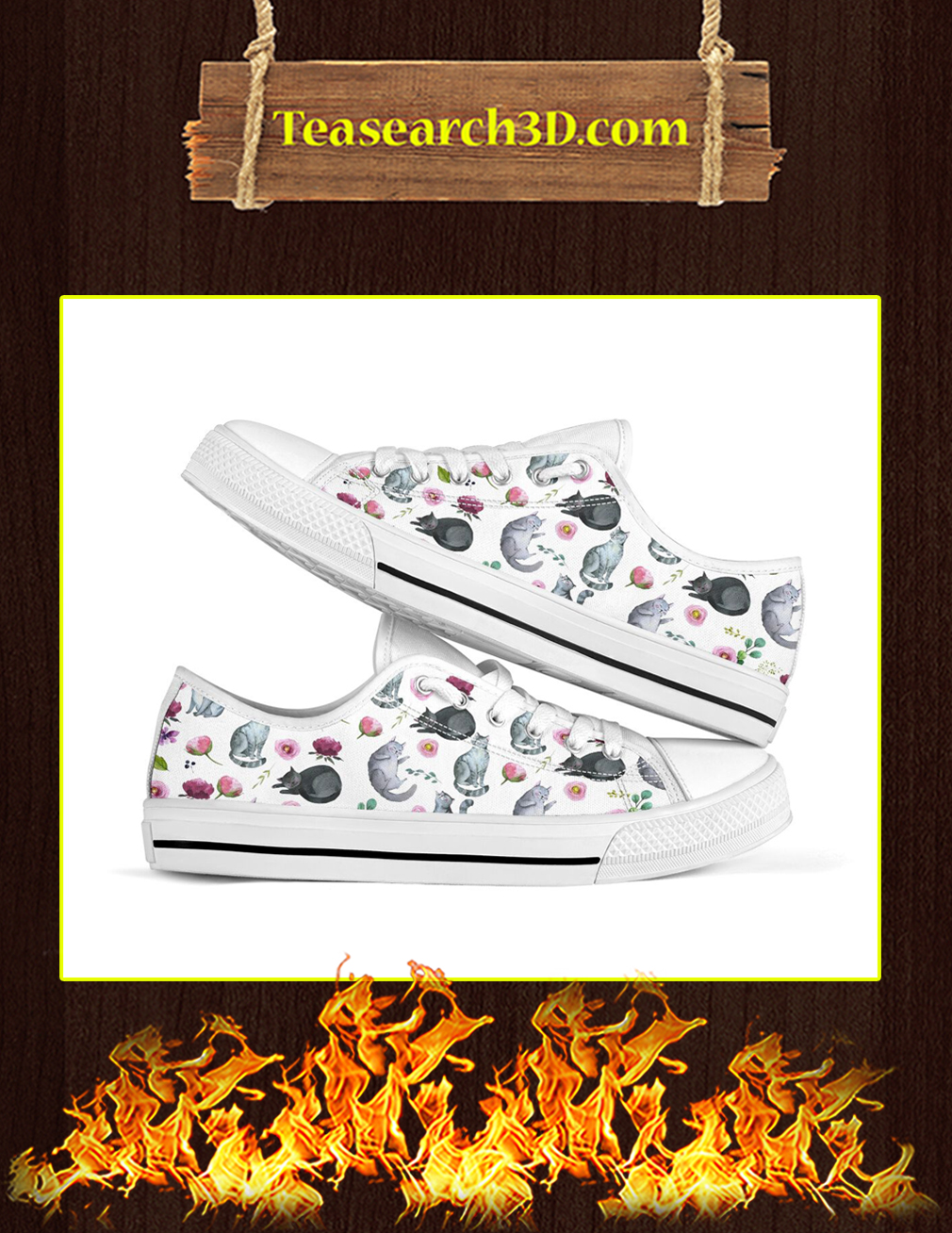 Cat Flower Low Top Shoes Pic 1
