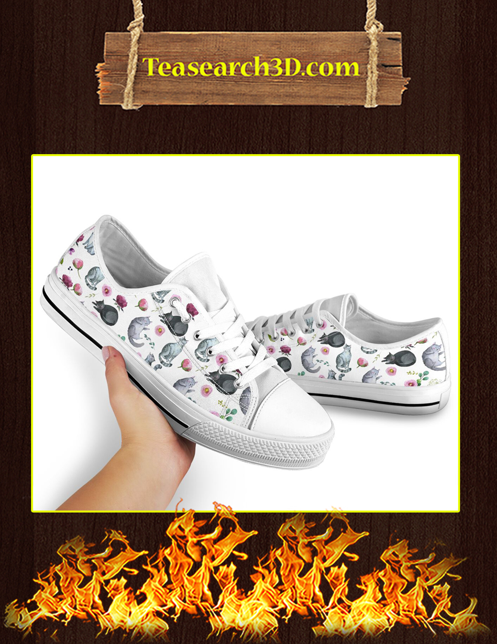 Cat Flower Low Top Shoes Pic 2