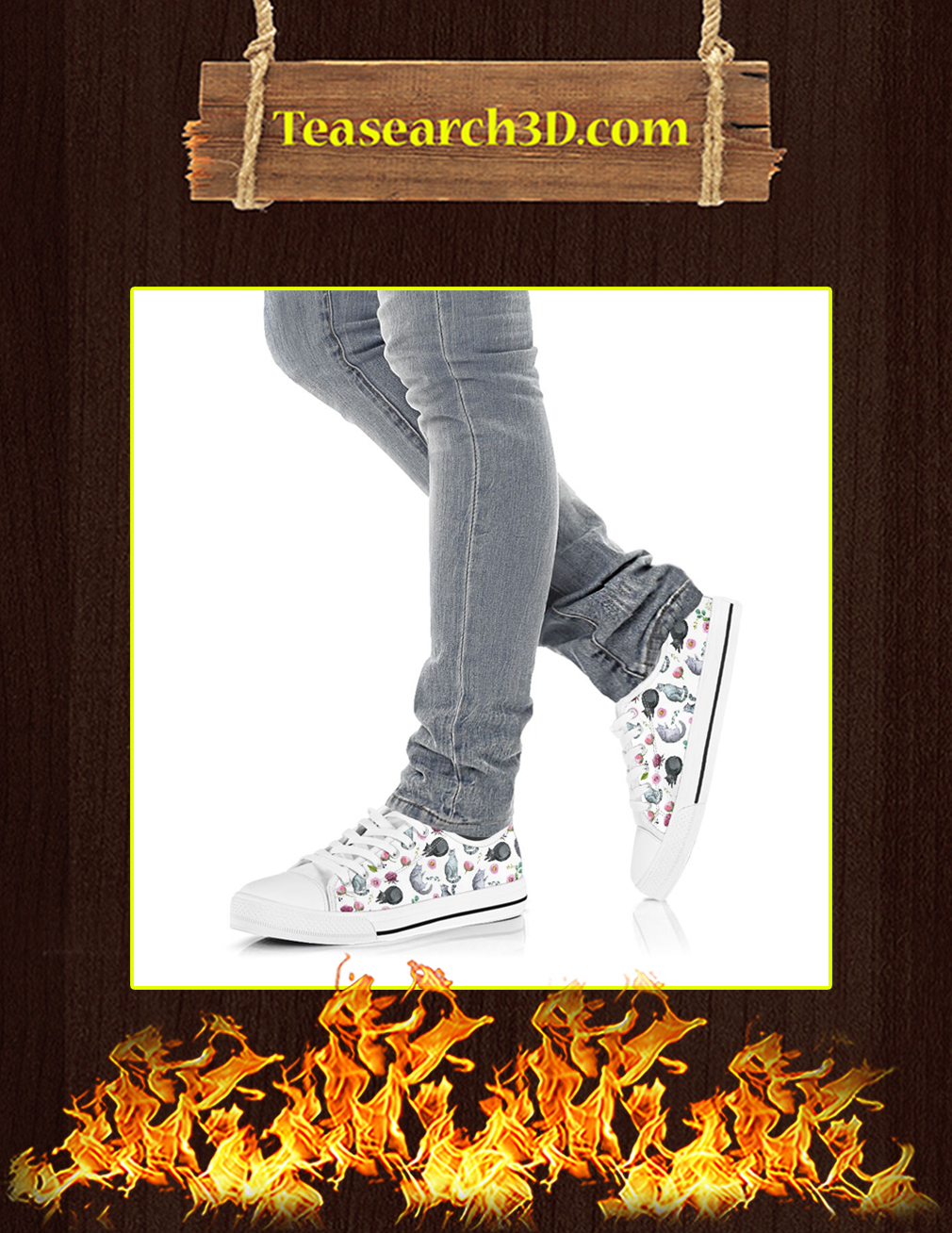 Cat Flower Low Top Shoes Pic 3