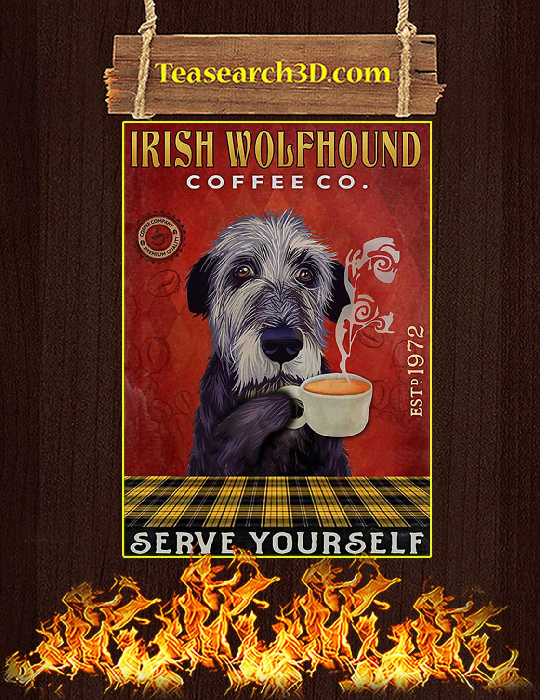 Coffee Company Irish Wolfhound Serve Yourself Poster A3