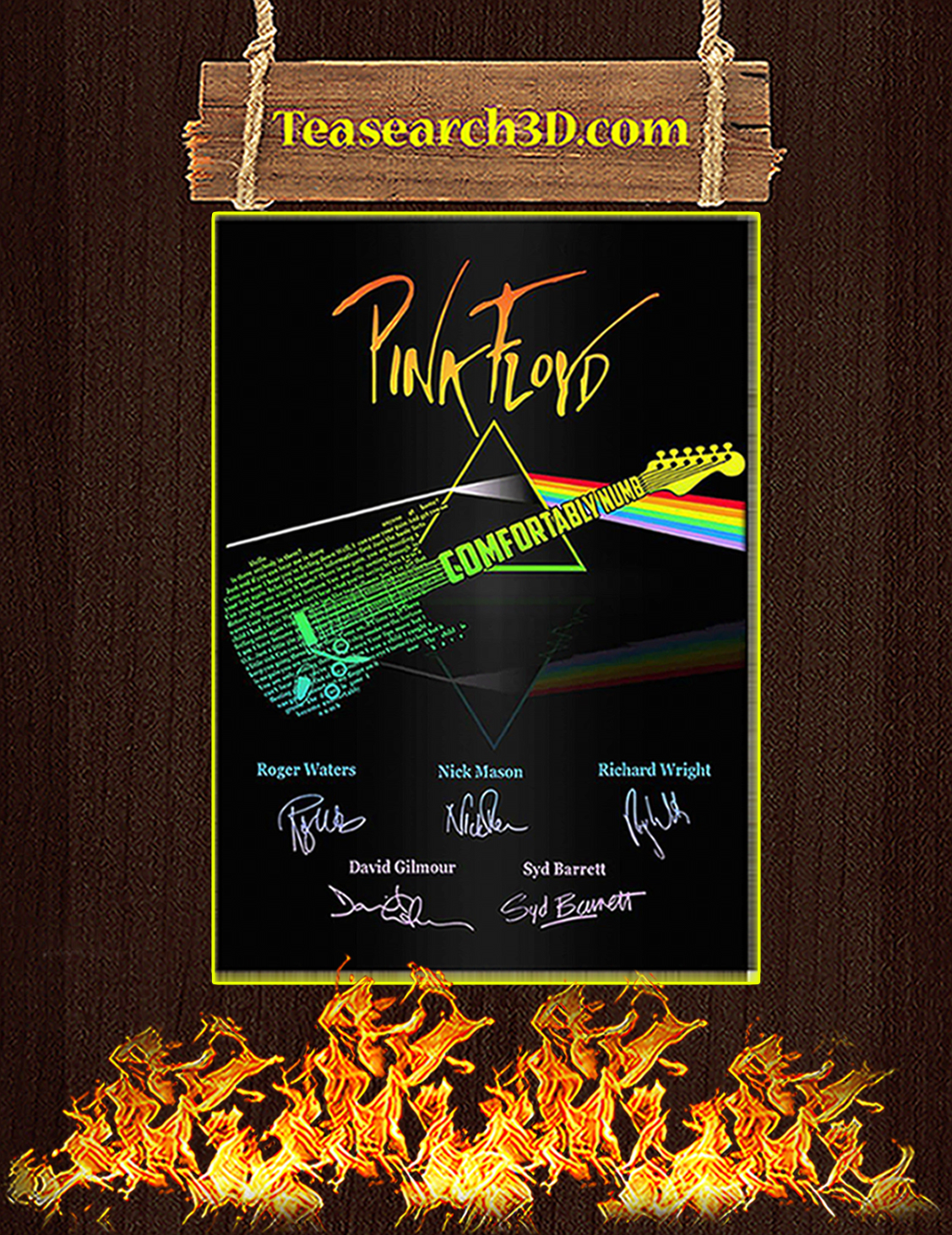 Comfortably Numb Guitar Pink Floyd Signature Poster A3