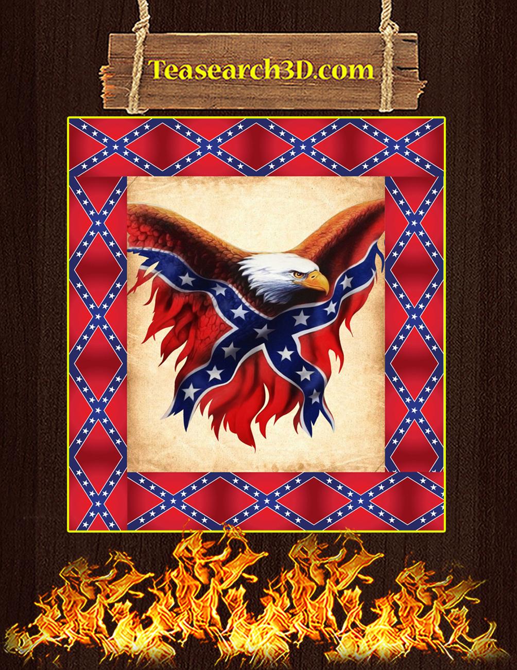Confederate Flag Eagle Quilt Blanket Single