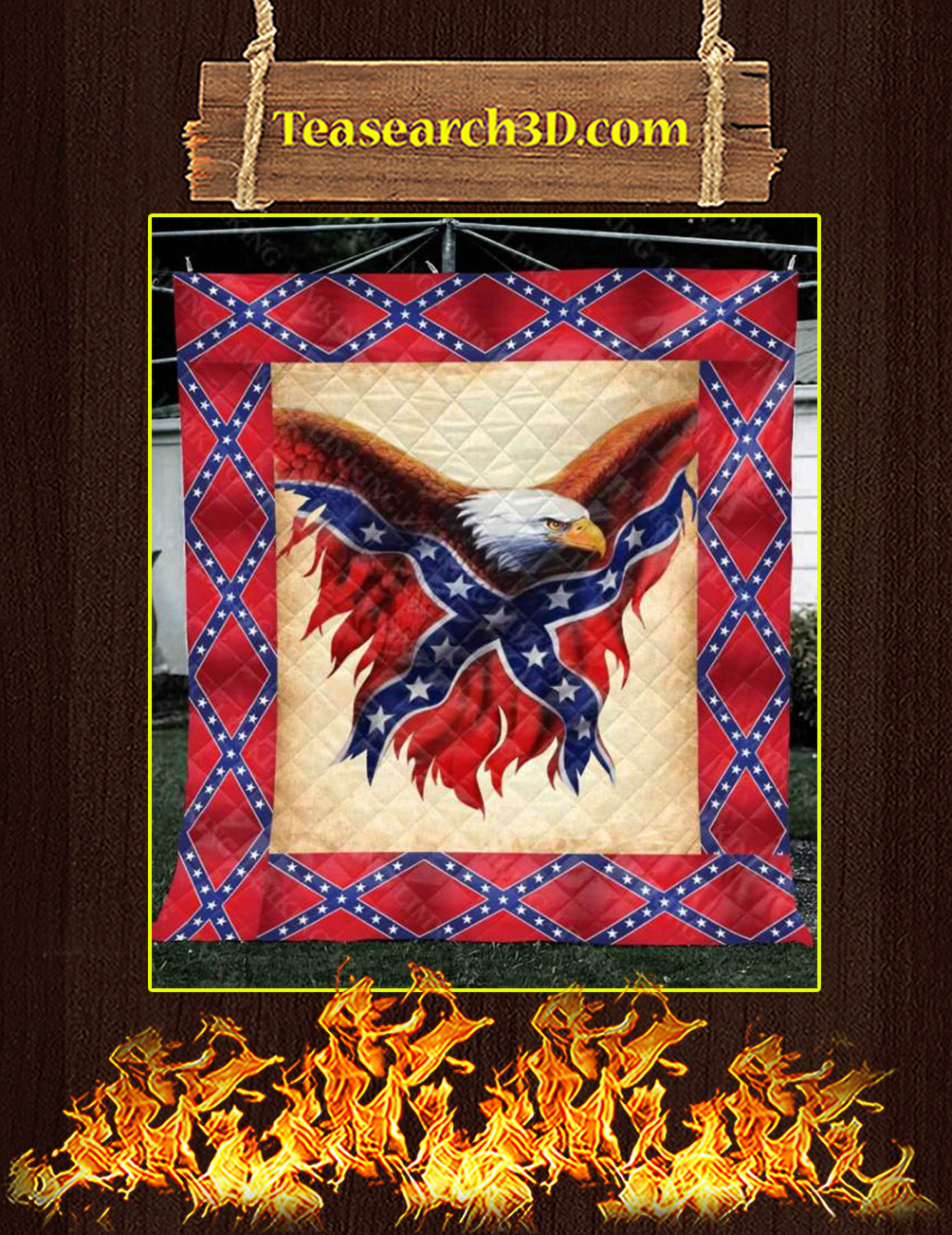 Confederate Flag Eagle Quilt Blanket Twin