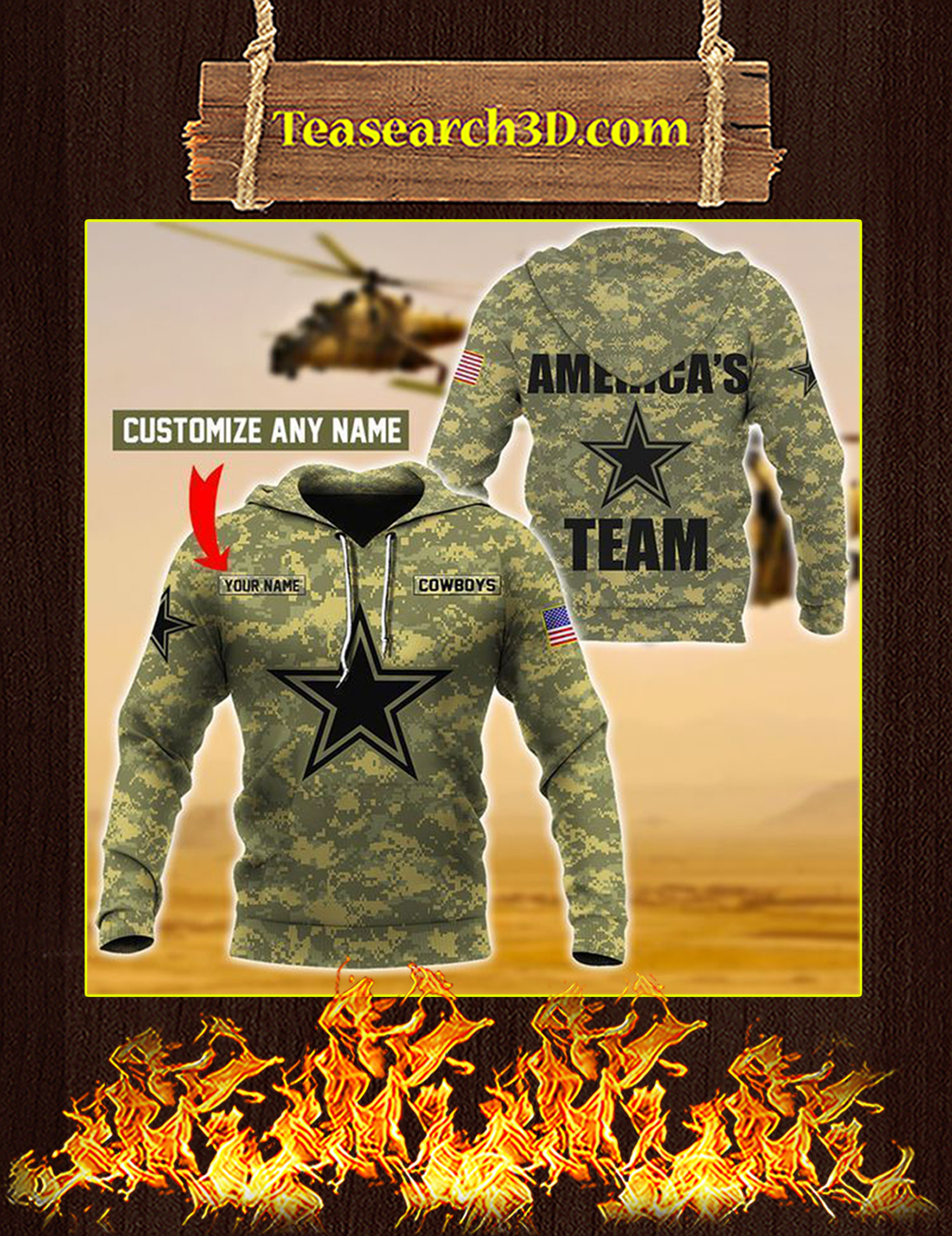 Cowboys Custom Name Personalize 3d hoodie Size L