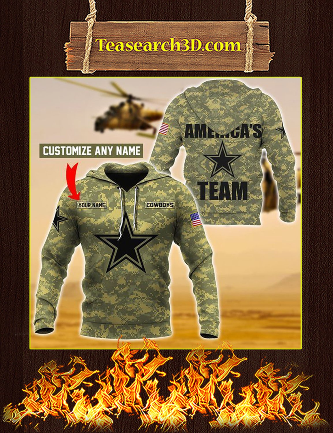 Cowboys Custom Name Personalize 3d hoodie Size XL