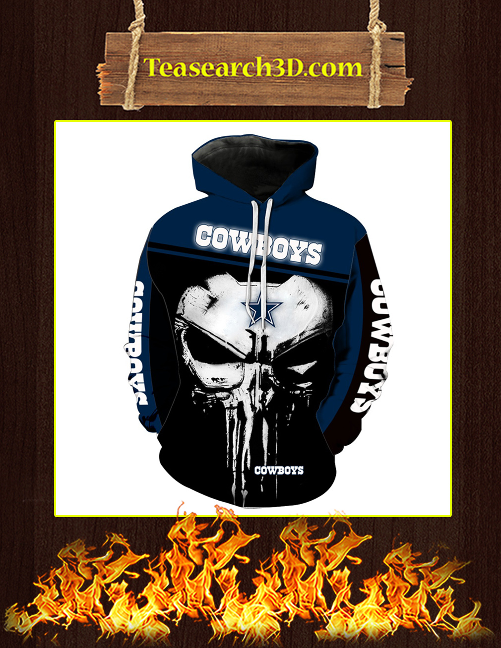 Dallas Cowboys Punisher Skull All Over Print 3D Hoodie