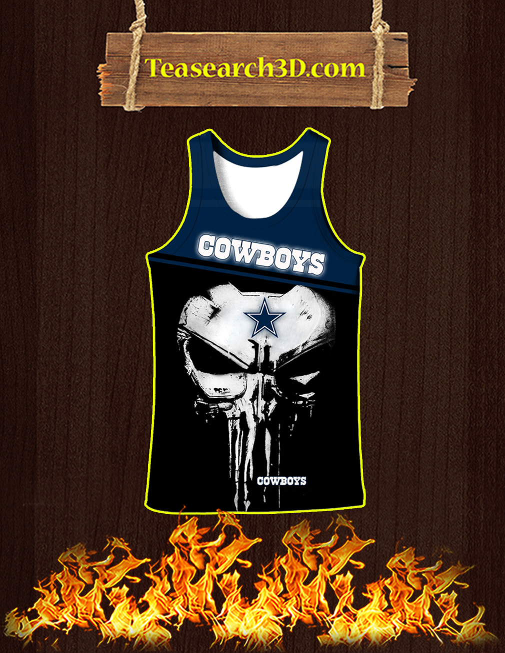 Dallas Cowboys Punisher Skull All Over Print 3D Tank top