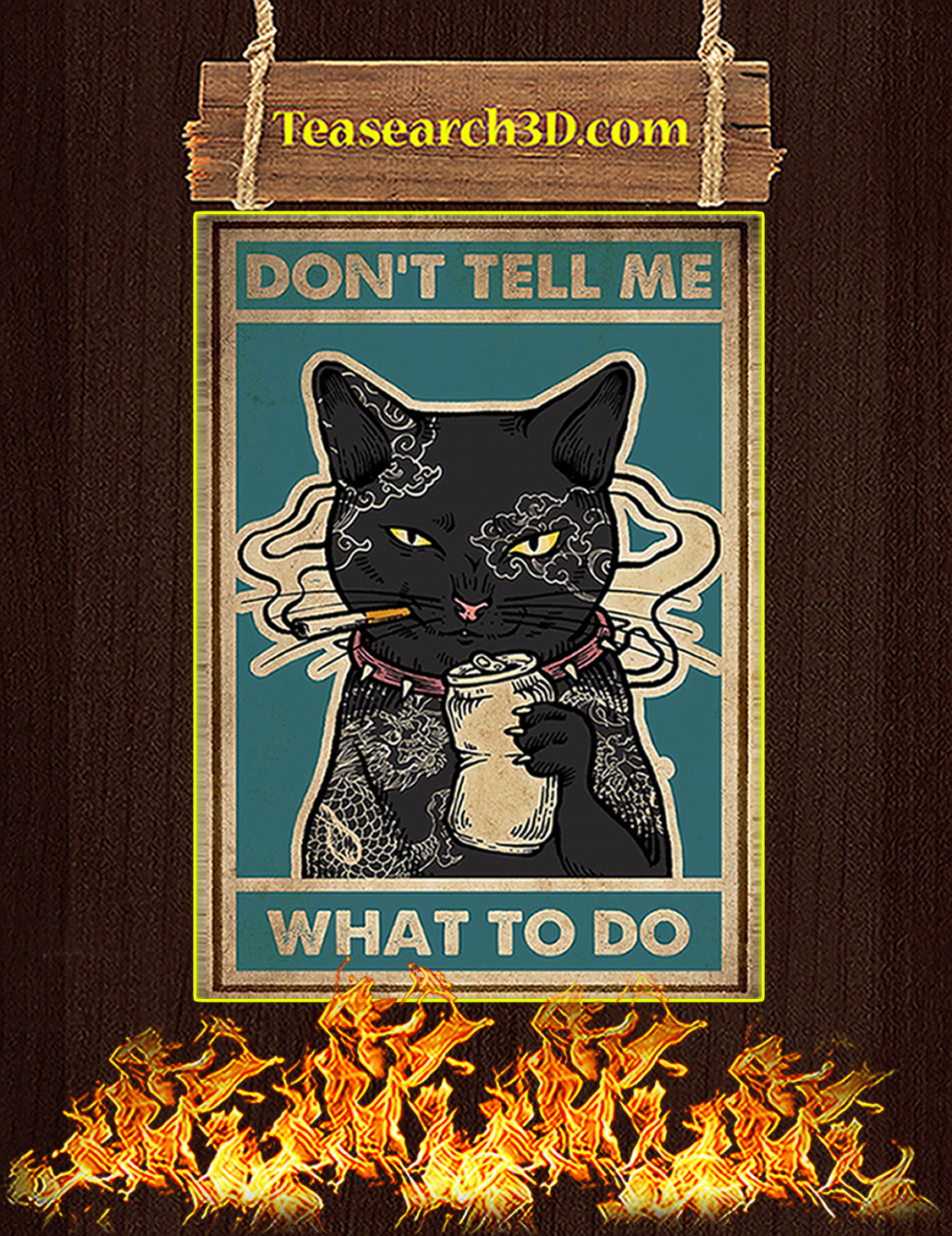 Don't tell me what to do Cat smoking poster A3