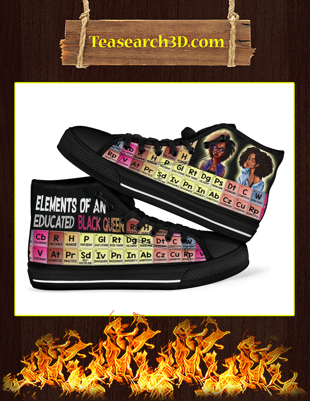 Elements Of An Educated Black Queen High Top Shoes Pic 1
