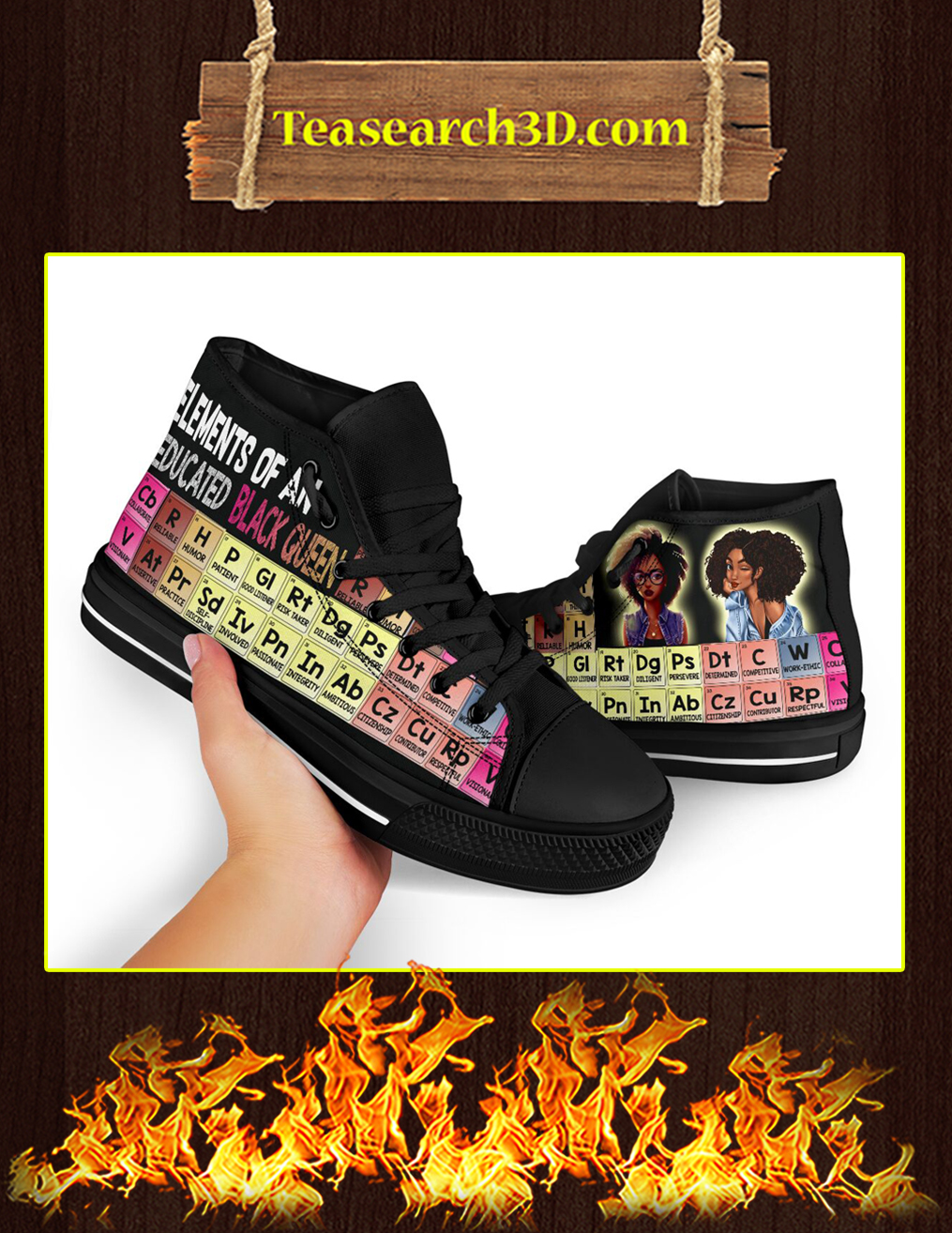 Elements Of An Educated Black Queen High Top Shoes Pic 2