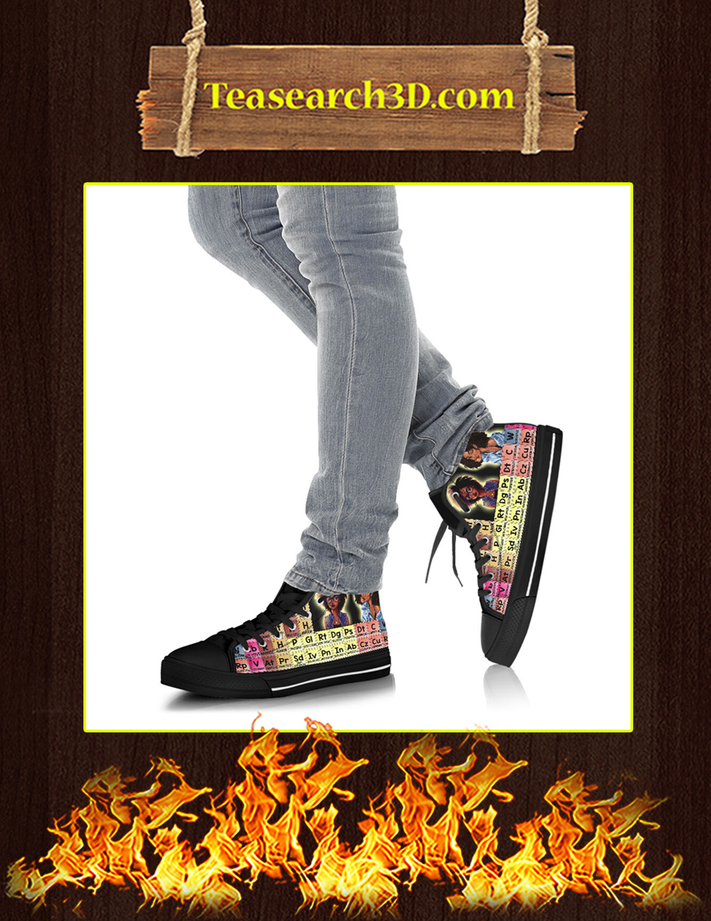 Elements Of An Educated Black Queen High Top Shoes Pic 3