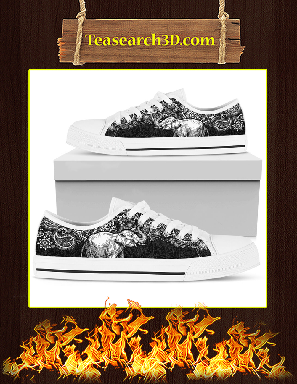 Elephant Paisley Black White Low Top Pic 2