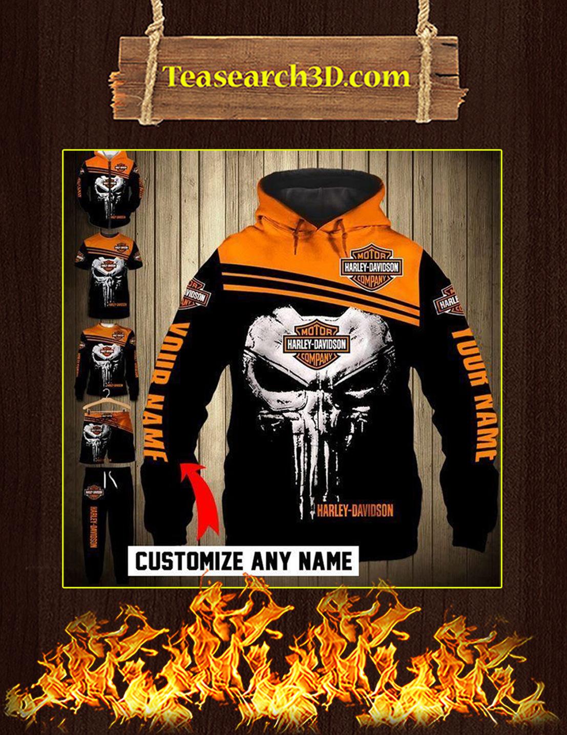 Harley Davidson Punisher Skull Custom Name 3d Zip Hoodie
