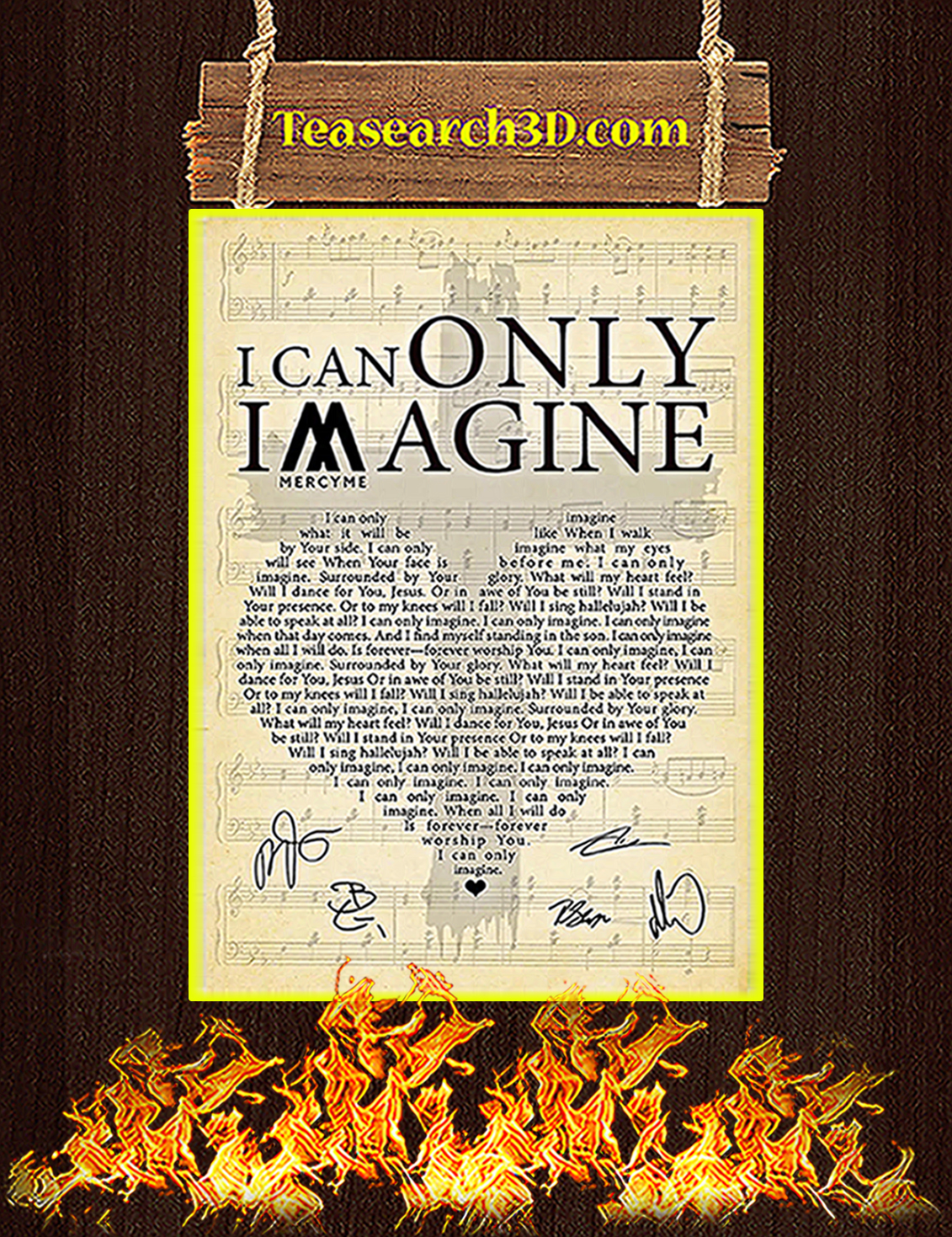 I Can Only Imagine Signature Heart Lyrics Poster A3