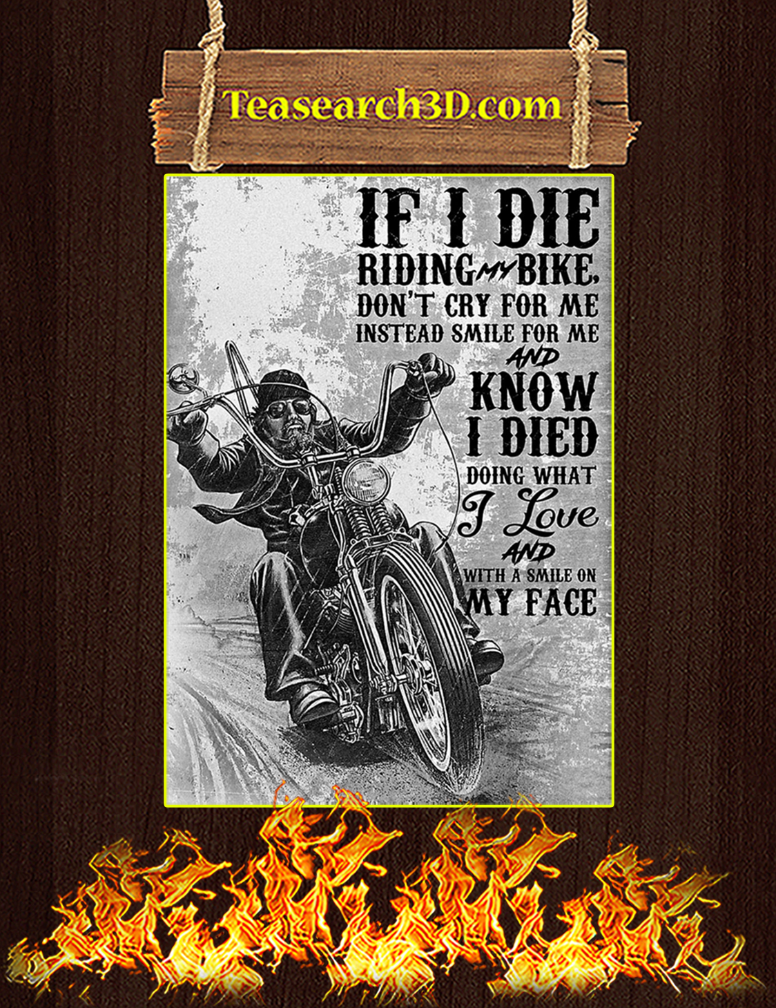 If I Die Riding Bike Don't Cry For Me Biker Poster A3