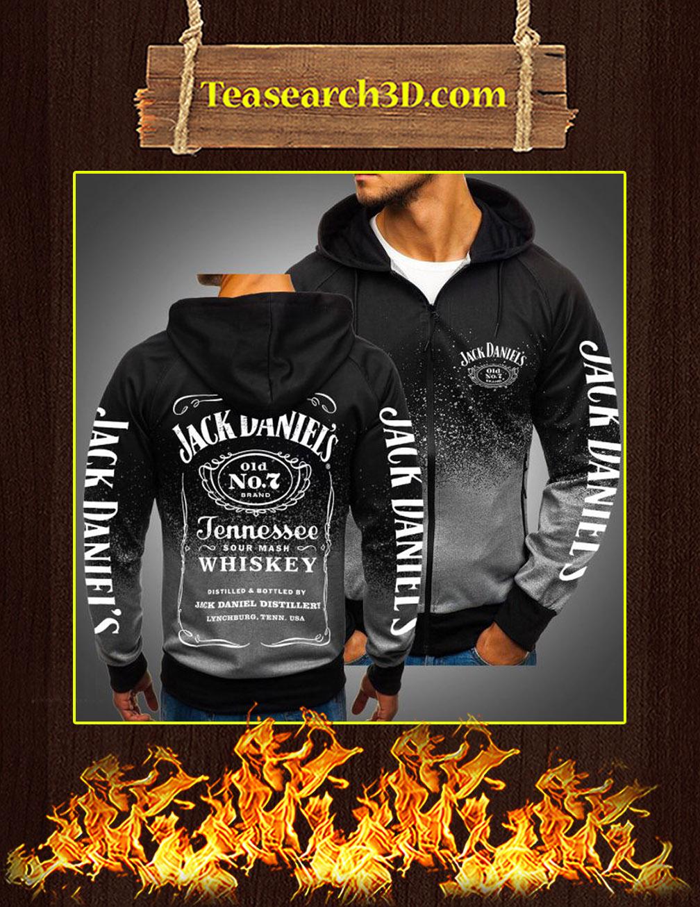 Jack Daniels Logo 3D Gradient Hoodie Gray