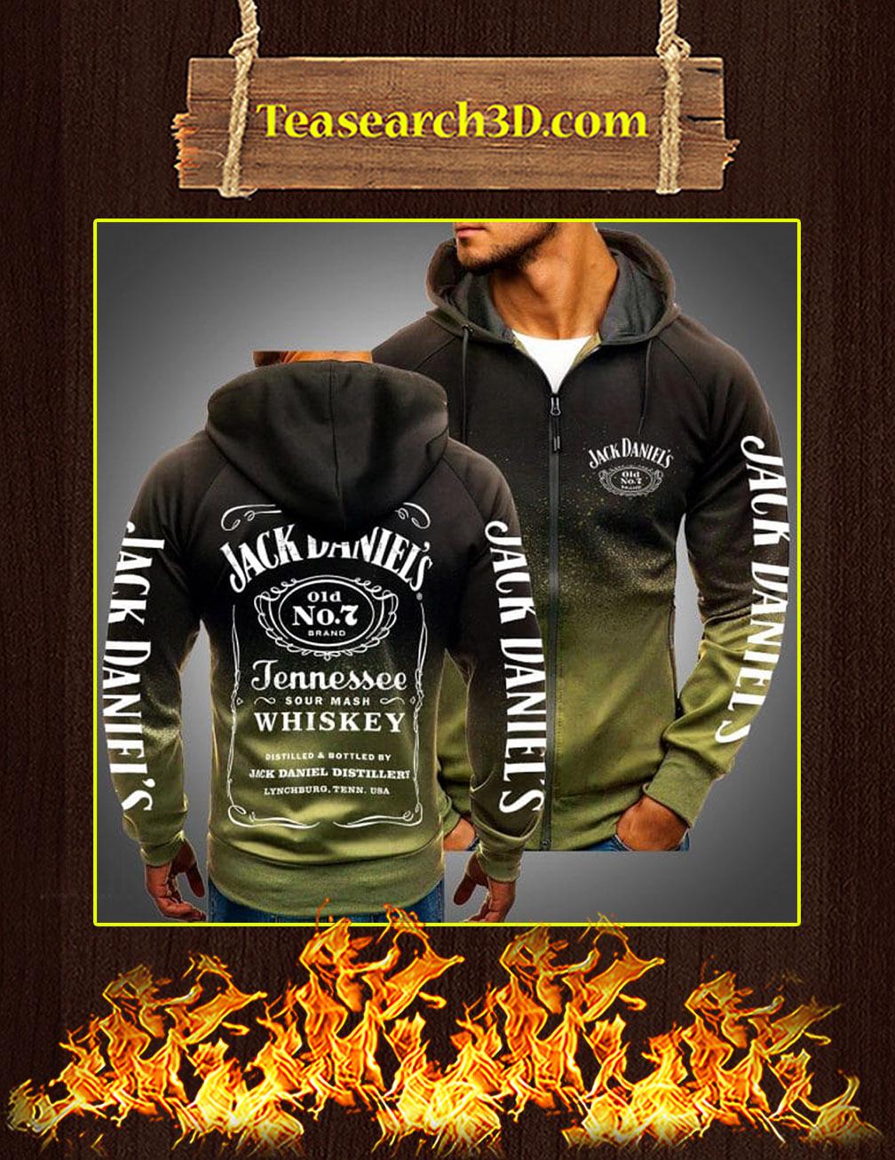 Jack Daniels Logo 3D Gradient Hoodie forest green