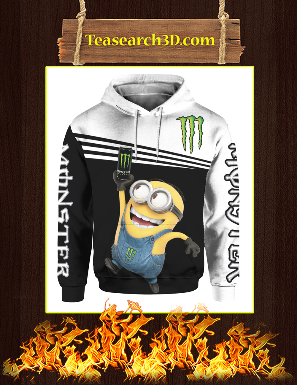 Minion Monster Energy 3d hoodie front