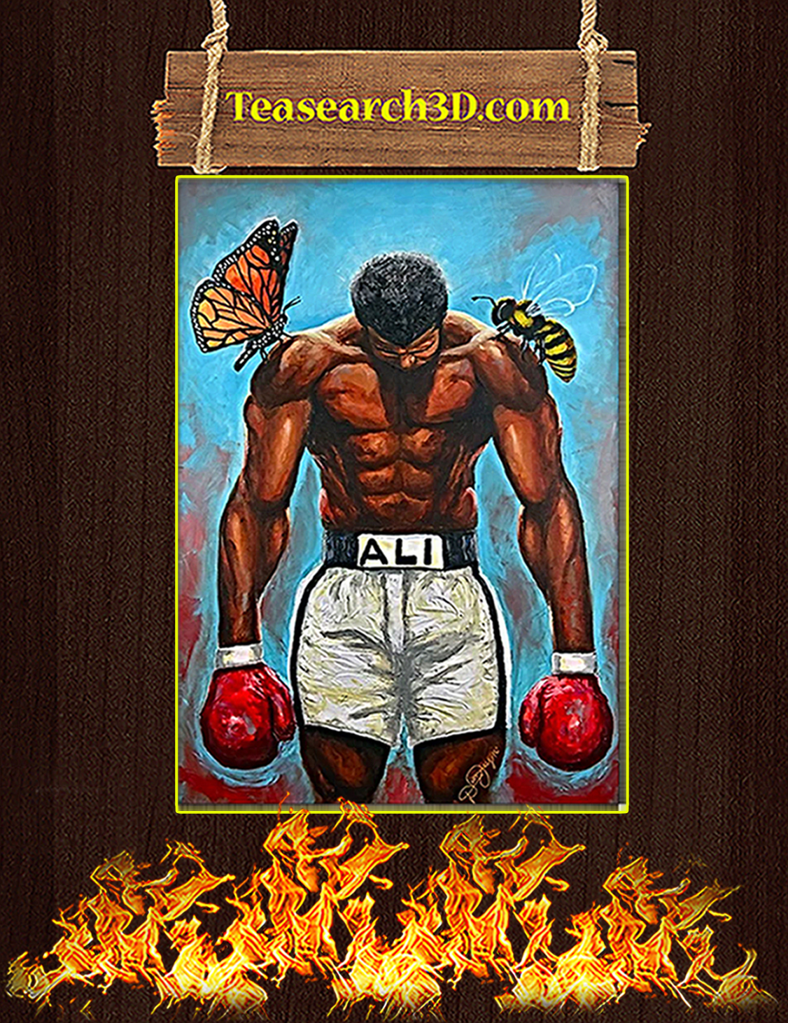 Muhammad Ali Butterfly Bee Boxing Poster A3