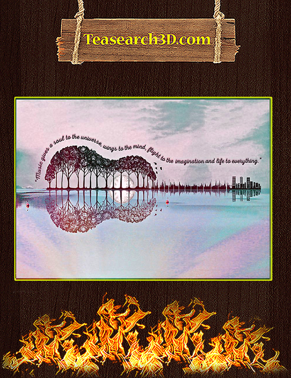Music Gives A Soul To The Universe Guitar Poster A3
