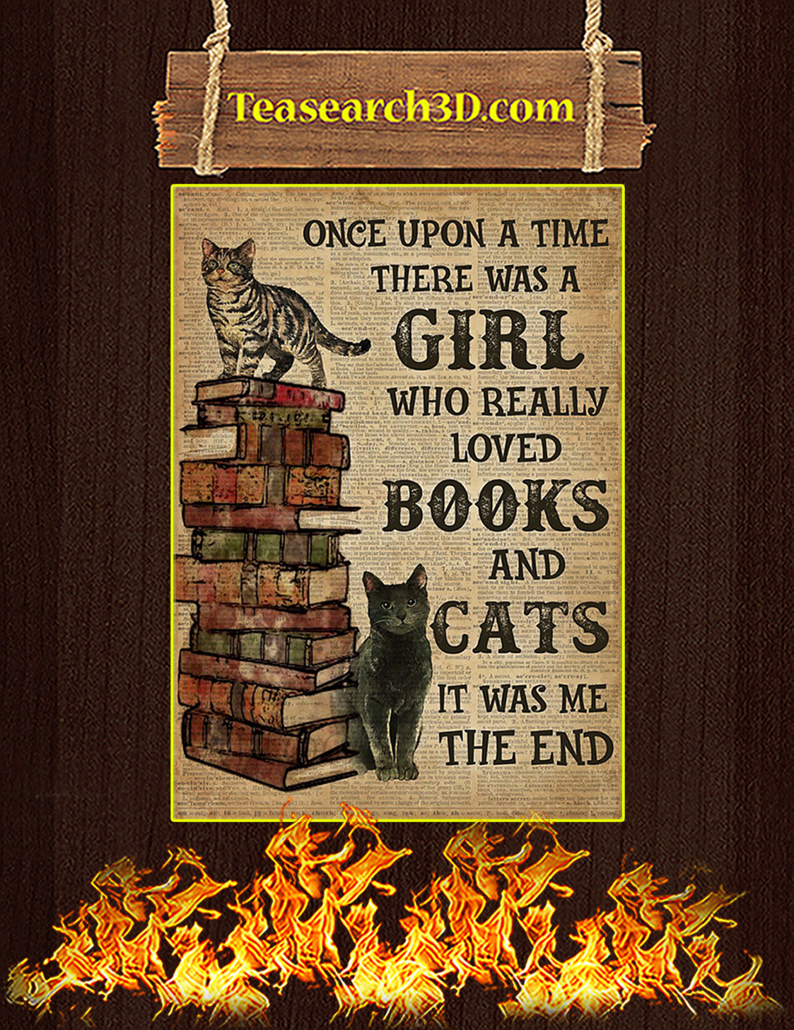 Once Upon A Time There Was A Girl Loved Boojs And Cats Poster A3
