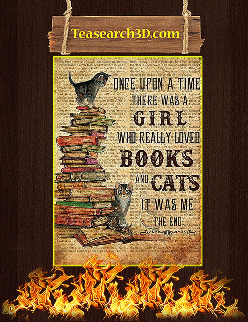 One upon a time there was a girl who really loved books and cats Poster A1