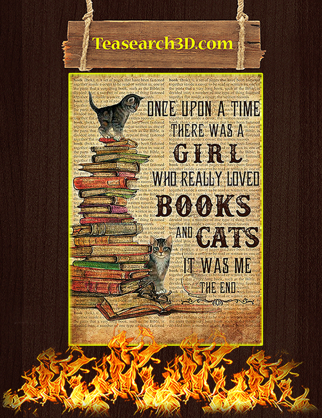 One upon a time there was a girl who really loved books and cats Poster A3